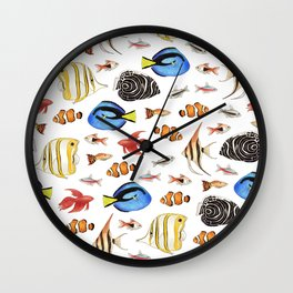 Tropical Fish on White - pattern Wall Clock