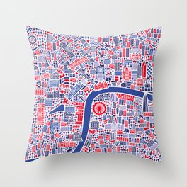 London City Map Poster Throw Pillow