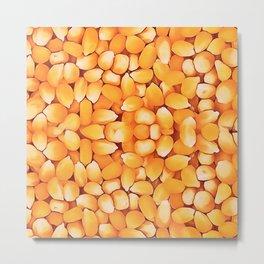 Sweet Corn Kernals Popcorn Abstract Art Metal Print