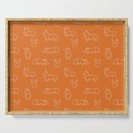 Corgi Pattern on Orange Background Serving Tray