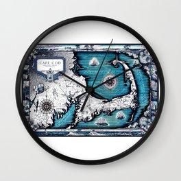 Cape Cod Map, Cape Cod, Barnstable County, Vintage 1931 Massachusetts by Ashburton Tripp Wall Clock