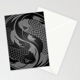 Gray and Black Yin Yang Koi Fish Stationery Cards