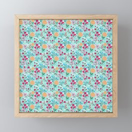 Cute Pink & Blue Small Floral Mint Design Framed Mini Art Print