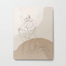 kiss from back - Minimal erotic art print Metal Print
