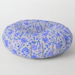Watercolor Peonies - Cobalt Blue Floor Pillow