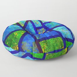 Art Deco Colorful Stained Glass Mosaic Floor Pillow