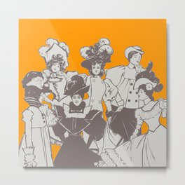 Vintage Ladies APRICOT / Vintage illustration redrawn and repurposed Metal Print