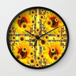 KANSAS WESTERN STYLE YELLOW SUNFLOWER FLORAL Wall Clock
