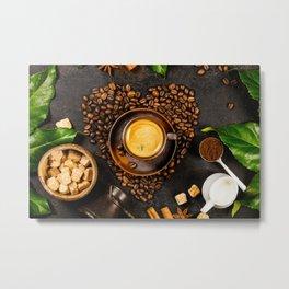 Coffee beans in shape of heart, cup of coffee, milk and sugar on dark rustic background Metal Print