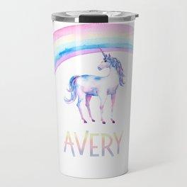 Unicorn and Rainbows Avery 2 Travel Mug