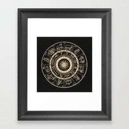 Vintage Zodiac & Astrology Chart | Charcoal & Gold Framed Art Print