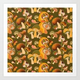 70s Mushroom, Retro Pattern Art Print