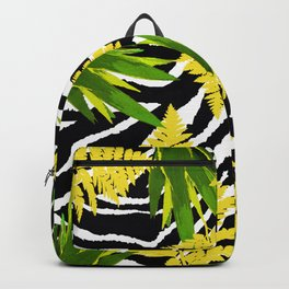 ZEBRA PALMS AND FERNS YELLOW AND GREEN Backpack