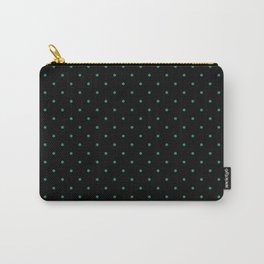 Medium Elf Green on Black Polka Dots Carry-All Pouch