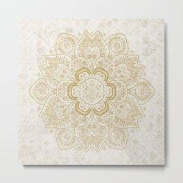 Mandala Temptation in Golden Yellow Metal Print
