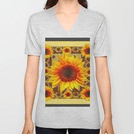 Brown & Yellow Sunflower Grey Art Unisex V-Neck