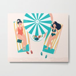 My Day Off - Kitschy Ladies Lounging at the Beach Metal Print