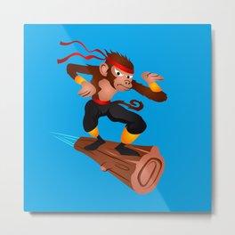 Monkey Ninja flying Metal Print