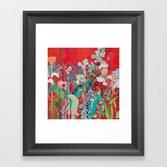 Red floral Jungle Garden Botanical featuring Proteas, Reeds, Eucalyptus, Ferns and Birds of Paradise Gerahmter Kunstdruck