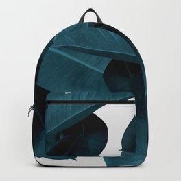 Indigo Blue Plant Leaves Backpack