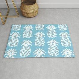 Retro Mid Century Modern Pineapple Pattern 731 Sky Blue Rug