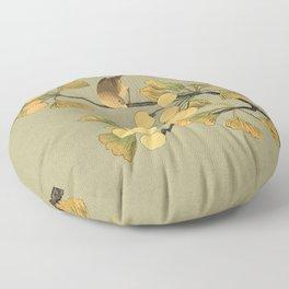 Bird in Ginkgo Tree Floor Pillow