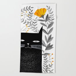 black cat with botanical illustration Beach Towel