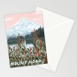 Mount Hood National Park Poster, Portland Oregon, Pacific Northwest, Vintage Retro Travel Poster Stationery Cards