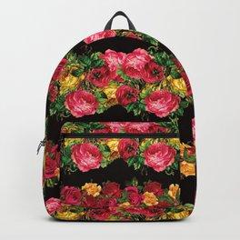Vertical Rose Floral Garlands in Black Backpack