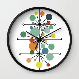 Atomic Age Nuclear Abstract Motif — Mid Century Modern Pattern Wall Clock