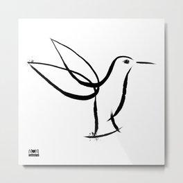 Hummingbird Minimalist Ink Line Brush Art - Creation Series Metal Print