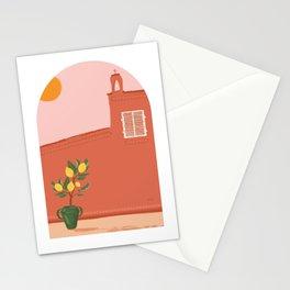 Pink Landscape / coast house / desert / lemon tree / moroccan view Stationery Cards