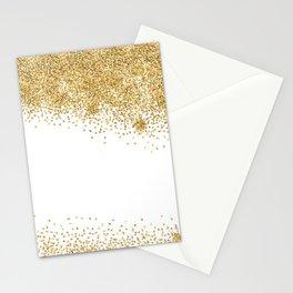 Sparkling golden glitter confetti effect Stationery Cards