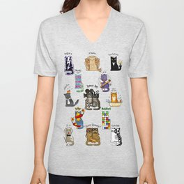 Science cats. History of great discoveries. Schrödinger cat, Einstein. Physics, chemistry etc Unisex V-Neck