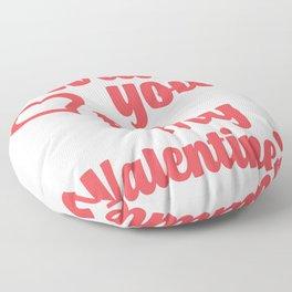 WILL YOU BE MY VALENTINE? #valentine #valentinesday #love #red #heart #minimal #design #kirovair #ho Floor Pillow