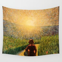 Sicilian sunset, 1921 romantic floral landscape painting by Pippo Rizzo Wall Tapestry