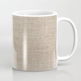 Faux Burlap, White, and Navy Minimalist Color Block 2  Coffee Mug