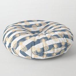 Nautical modern navy blue white stripes blush beige pineapple Floor Pillow