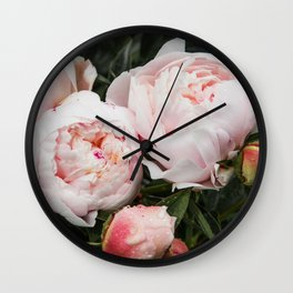 Flower Photography   Peonies Cluster   Blush Pink Floral   Peony Wall Clock