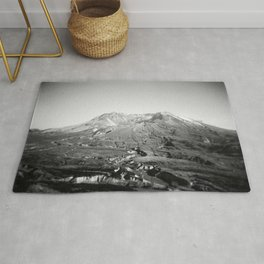 Mount St. Helens in Black and White - Holga Photograph Rug