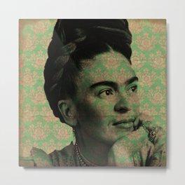 Green Frida Kahlo Metal Print