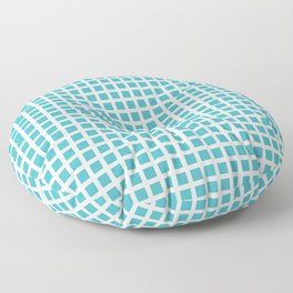 Grid Pattern 312 Turquoise Floor Pillow