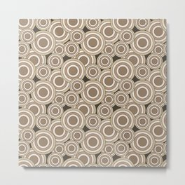 Overlapping Circles in Tans on Brown Metal Print