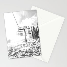 Powder on the Hill // Black and White Skilift Shot on a Deep Snowday Stationery Cards