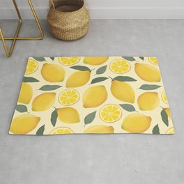 Lemons Illustrated Pattern Rug
