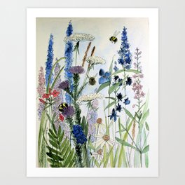 Wildflower in Garden Watercolor Flower Illustration Painting Kunstdrucke