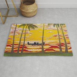 Surf Hawaii, Outrigger, Hawaiian Sunset Portrait Rug