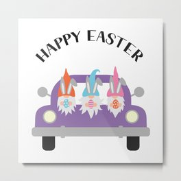Easter truck with gnomes Metal Print