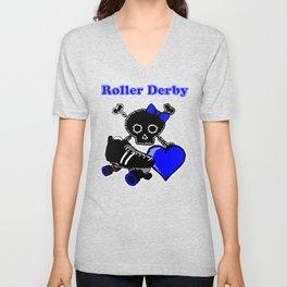 Roller Derby Heart (Blue) Unisex V-Neck