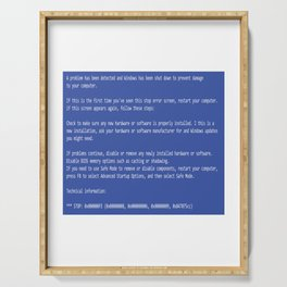 This is a perfect gift for computer users who hates Blue Screen of Death, Classic BSOD Error T-Shirt Serving Tray